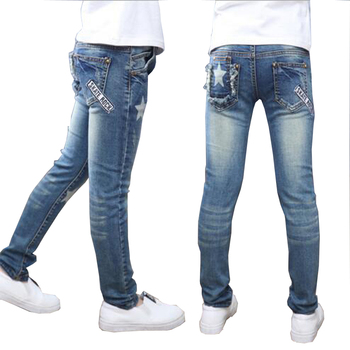 Girls pants full-length Jeans girls kids trousers embroidery jeans denim casual pants 5-14Y children pants outwear free shipping 1
