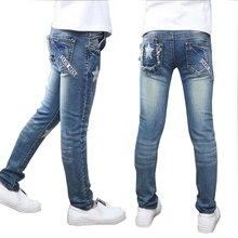 Calças meninas full length calças de Brim meninas crianças calças jeans bordados denim calças calça casual 5 14Y crianças outwear frete grátis