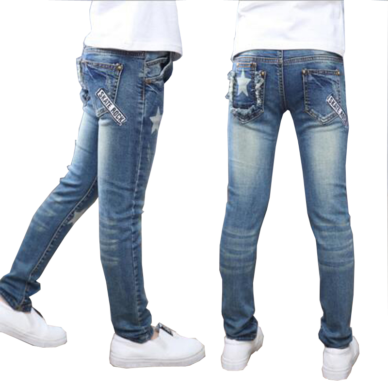 Girls pants full-length Jeans girls kids trousers embroidery jeans denim casual pants 5-14Y children pants outwear free shipping
