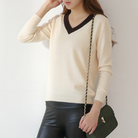Women Deep V Neck Cashmere Kintted Sweaters And Pullovers Ladies Autumn Winter Black White Casual Sweater