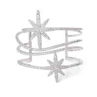 New Arrival Silver Wide Cut Out Swirl Bangle Bracelets Sparkling Austrian Crystal CZ Star Open Cuff