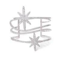 Nouvelle Arrivée Argent Large Cut Out Bracelet Tourbillon Bracelets Mousseux Cristal Autrichien CZ Étoiles Ouvert Manchette Bracelets
