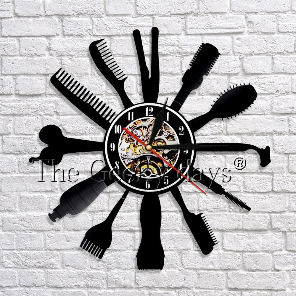 1 Stuk Haar Schoonheidssalon Vinyl Wandklok Kapper Kapper Tool Art Muur Decor Klok Modern Design 3d Muur Klokken Horloges Catalogi Worden Op Verzoek Verzonden