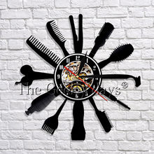 1Piece Hair Beauty Salon Vinyl Wall Clock Hairdresser Barber Shop Tool Art Wall Decor Clock Modern Design 3D Wall Clocks Watches(China)