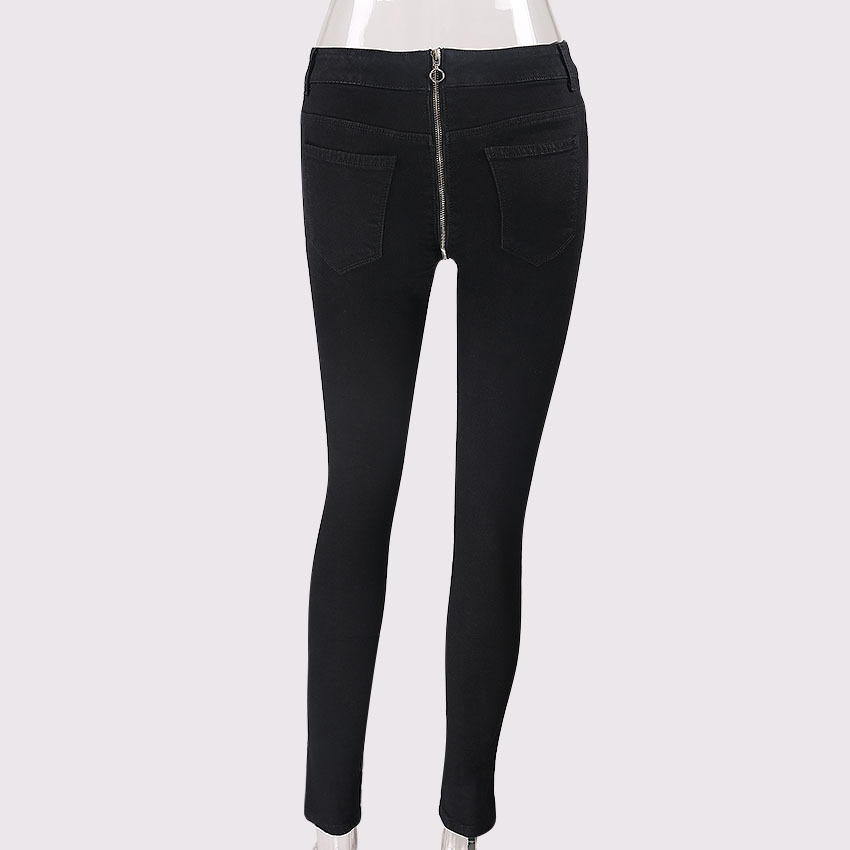 2018 moda Pantalones vaqueros flaco Mujer Pantalones con cremallera ...