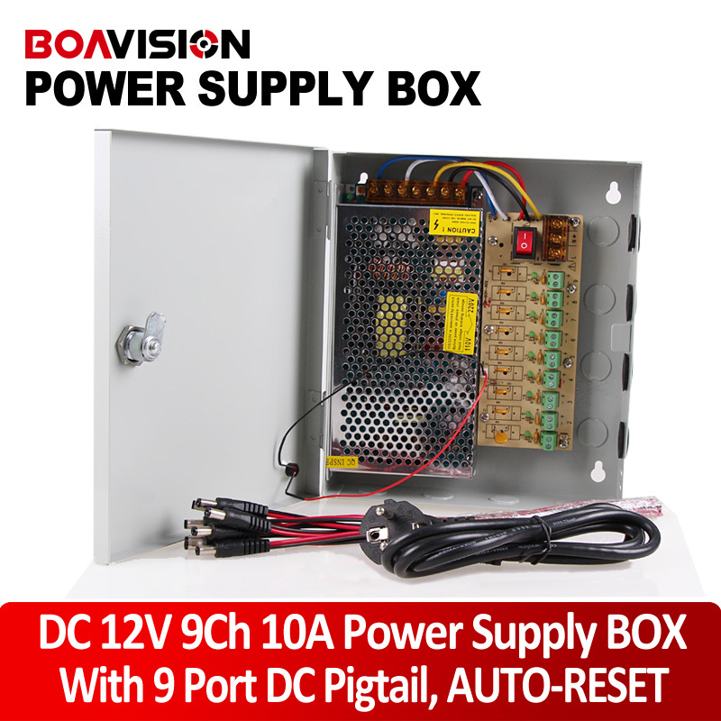 Power supply 12V 10A Power Supply Box CCTV CCD Camera 12V DC 9 Port +Pigtail 16ch cctv power supply 12v 10a cctv camera ptz ir illuminator cctv power box for cctv security camera