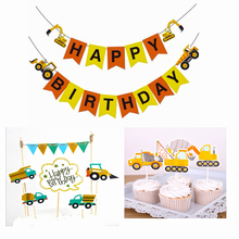Omilut Construction Vehicle Birthday Banner Party Decoration Cake Topper Supplies Gift For Child