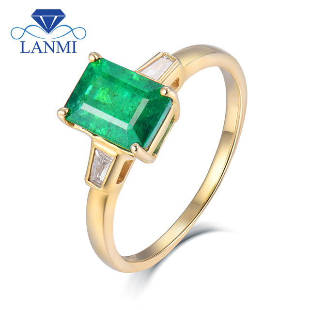 Genuine Natural Emerald Cut 6x8mm Emerald Engagement Mens Ring