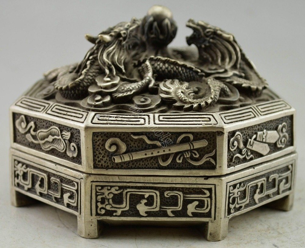 Crafts statue ChinaCollectible Decorated Silver Plate Copper 8 Treasure dragon Jewel Box halloween
