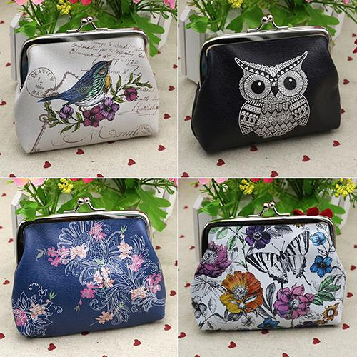 Women Mini Owl Bird Flower Wallet Card Holder Case Coin Purse Clutch Handbag Bag BW6X japan south korea cartoon owl mini wallet coin case card holder dollar price bag quartet small purse gift wholesale