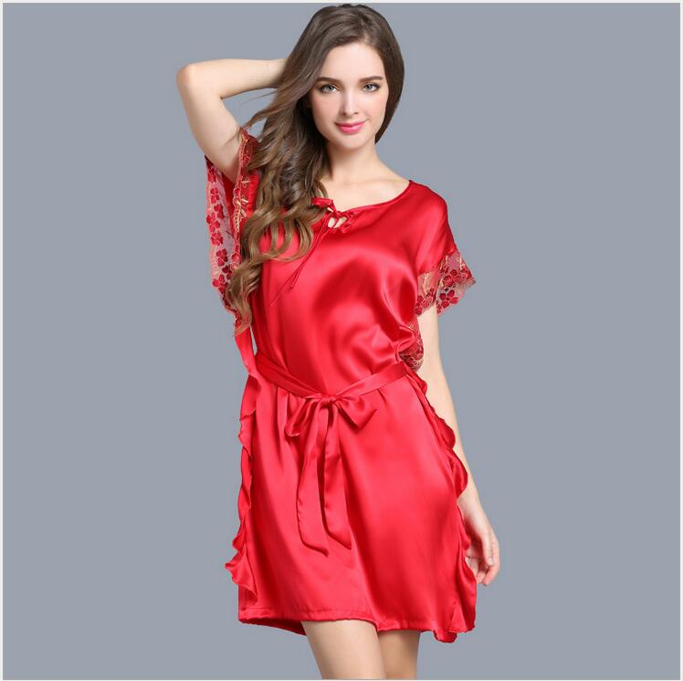 women silk   nightgown   2019 summer loosen silk Homewear women   nightgowns     sleepshirts   pink sexy silk nightwear sleepwear