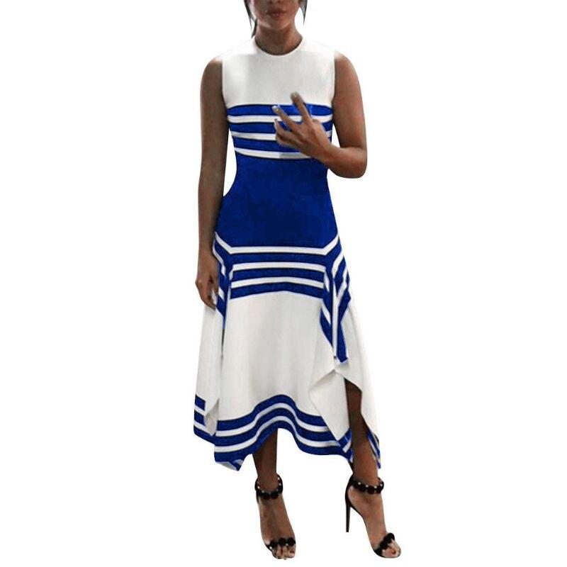 Для женщин; Большие размеры летние для вечеринки без рукавов Макси длинное платье Винтаж полосатый нерегулярные оборками Разделение Офис П...