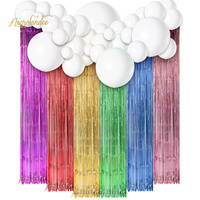 NICROLANDEE Unicorn Theme Tassel Curtain Balloons Kit Baby Shower Happy Birthday Home Party Decoration DIY
