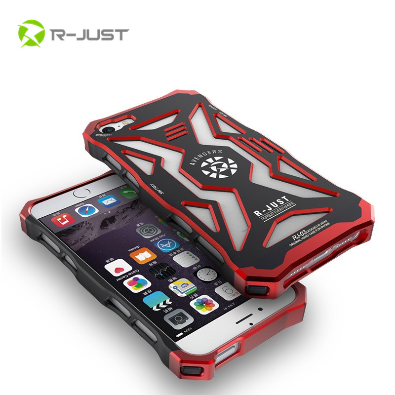 R-JUST Brand Thor Luxury Heavy Duty Armor Metal Aluminum + PC Case For Apple iPhone 6 plus Phone Back Cover For iphone 6 6S Plus