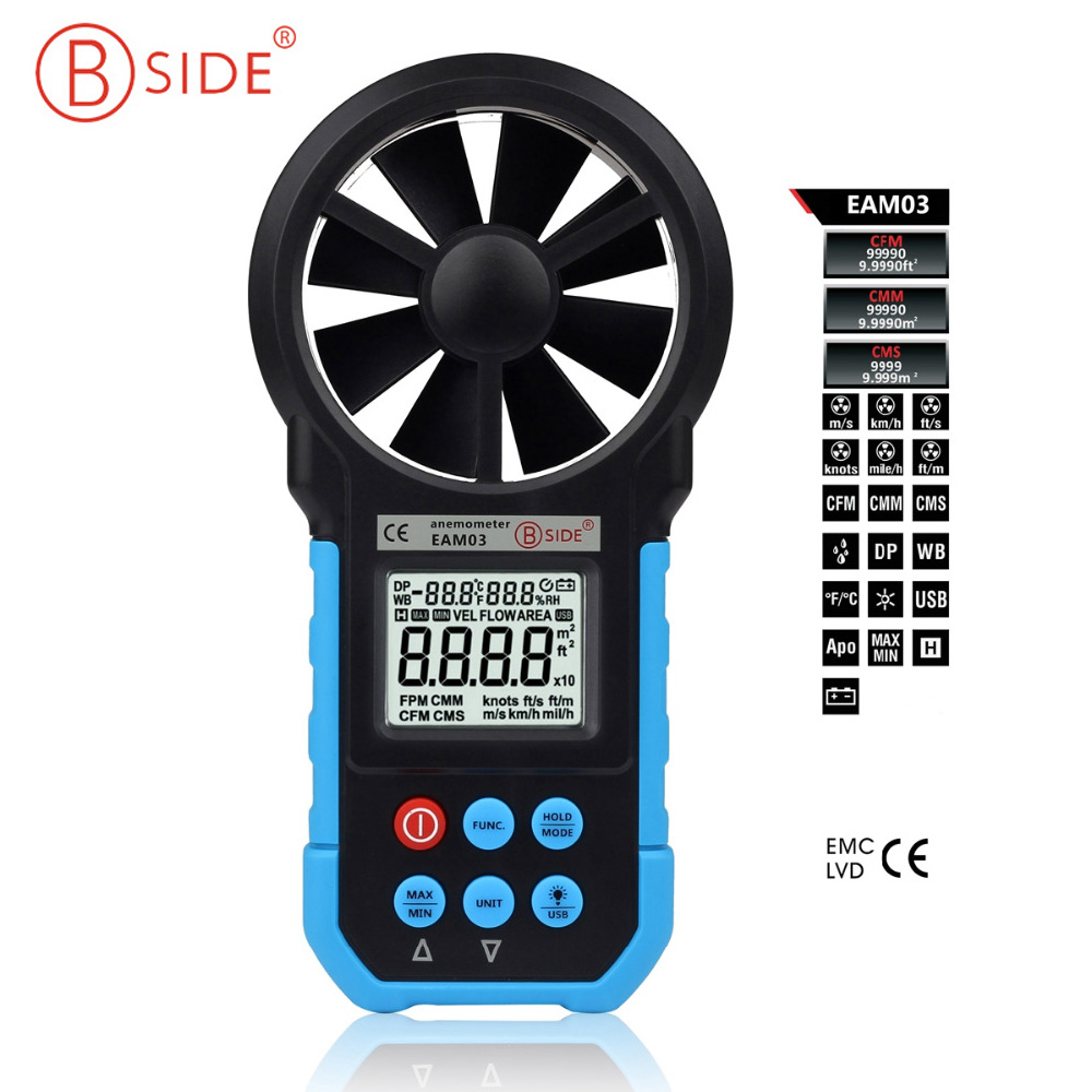 Bside EAM03 Digital Anemometer Wind Speed Meter Anemometro Air Flow Temperature Humidity Tester & USB Real Time Data ноутбук acer predator triton 700 pt715 51 78su 15 6 1920x1080 intel core i7 7700hq nh q2ker 003