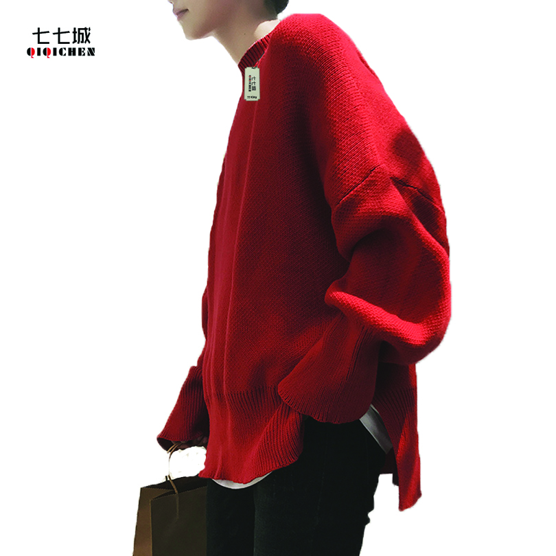 Oversized Knit Sweater Men Streetwear Fashion Casual Korean Oversize Loose Round Collar Men Knit Sweater 4 Colors