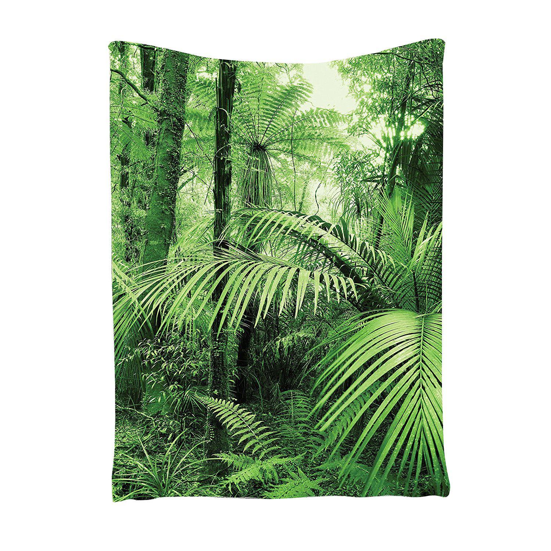 TaTropical deževna zelena tapiserija, palme in eksotične rastline v - Domači tekstil
