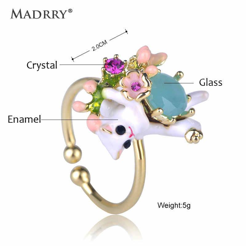 Madrryเครื่องประดับแฟชั่นแหวนเคลือบสีขาวแมวแหวนรูปดอกไม้ผู้หญิงGirls Dailyจัดเลี้ยงพรรคBijouxอุปกรณ์เสริมมือของขวัญ