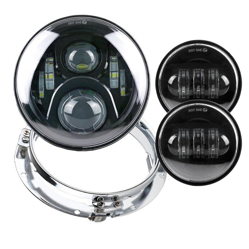 Daymaker Style 7 LED Phare & 4.5 Lumière passant Kit pour 1994-2016 Harley Davidson avec un 7 pouces support de montage anneau