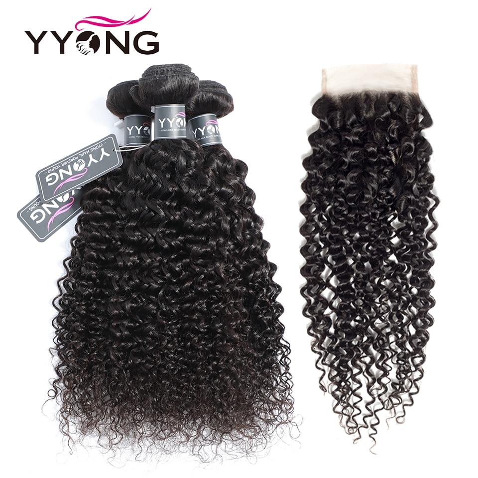 Yyong Peruvian Kinky Curly Hair 3 Bundles With Lace Closure Human Hair Bundles With Closure 100