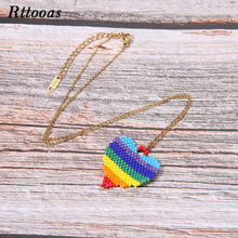 Rttooas Colourful Lover Heart Pendant Necklace Summer New Fashion Handmade Woven Choker for Women