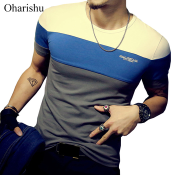 2020 Summer Men's T Shirt Casual Patchwork Short Sleeve Mens Clothing Trend Fashion Slim Fit Hip-Hop Top Tees Plus M-5XL - discount item  40% OFF Tops & Tees