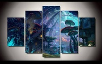 Modern Decorative Picture Tiny World Fantasy Art 5 Piece Painting Wall Art Children'S Room Decor Poster Modular Picture