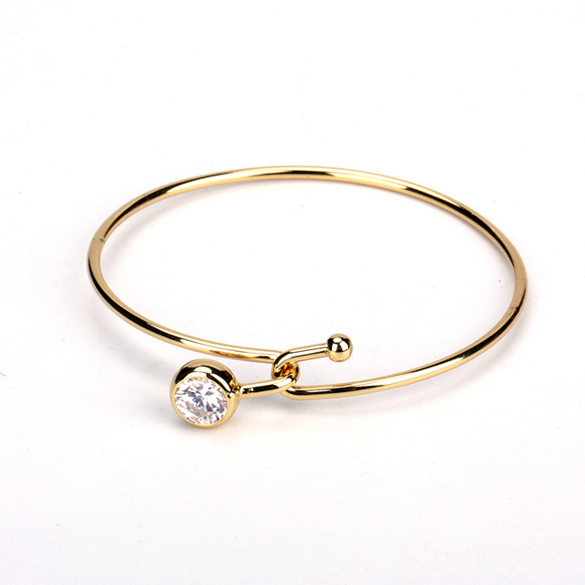 Stylish Wire Knot Pave Clear Crystal Bead Charm Pure Gold Color ...