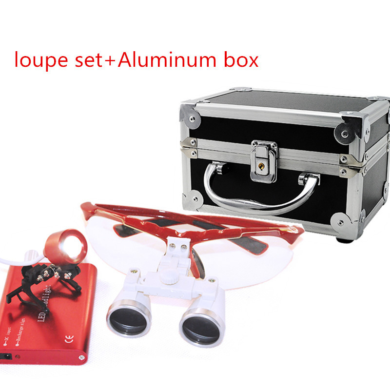 2018 Red New Dentist Dental Surgical Medical Binocular Loupes 3.5X 420mm Optical Glass Loupe Portable Light Clip+Aluminum Box 2018 new fashion dentist dental surgical medical binocular loupes optical glass loupe with colorful carry case free shipping