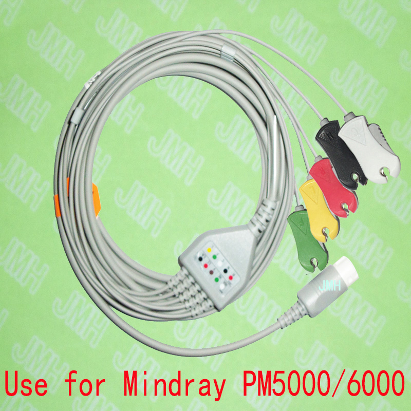 Compatible with 12pin Mindray PM50006000 and T5,T6,T8 ECG Machine the one-piece 5 lead cable and clip leadwire,IEC or AHA.