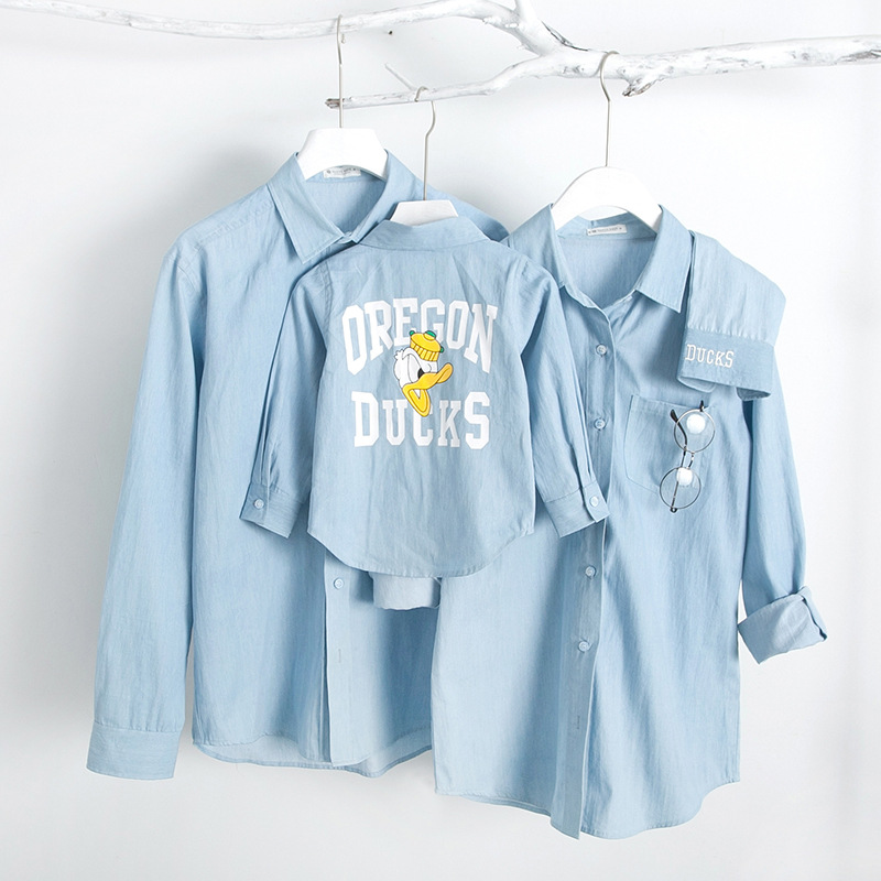 Family matching clothes outfits t shirt mother son outfits for Matching denim shirt and jeans