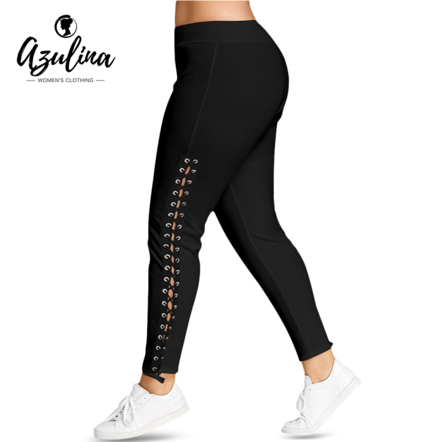 AZULINA Plus Size Lace Up Grommet Leggings 2018 Skinny Leggins Women Pencil Pants Trouser Black White Leggings 2018 Big Size 5XL