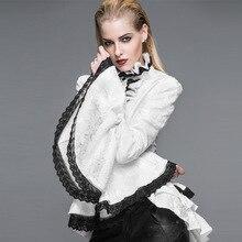 2016 New Women's Gothic Punk Style Vintage Europe&America Palace Lolita Flare Sleeve Blouse Cotton Stand Collar Falbala Shirt