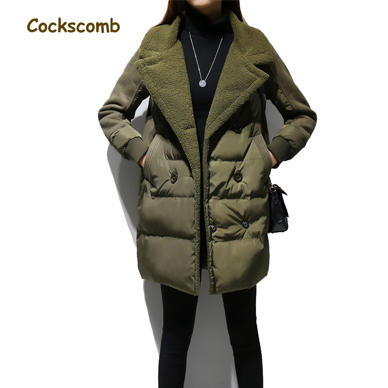 Faux lamb fur patchwork cotton parka women letters embroidery double breasted coats outerwear female thick warm winter overcoat 2018 new fashion suede lamb wool women coats double breasted warm solid thick long overcoat casual winter cotton jackets female