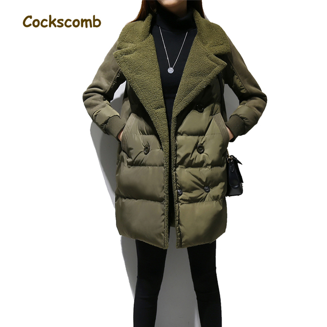 Faux lamb fur patchwork cotton parka women letters embroidery double breasted coats outerwear female thick warm winter overcoat