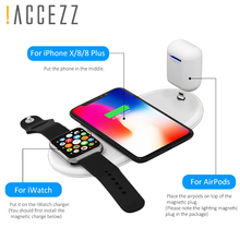 !ACCEZZ 3 in 1 10W Qi Fast Wireless Charging Stand For iPhone X 8 Plus MAX AirPods Apple Watch 1/2/3/4 Charge Dock Station