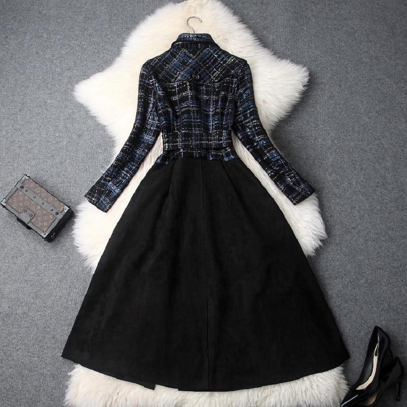 Neuf Plaid Qualité Manches Printemps Long Patchwork Femmes D'hiver Manteau À Mode vert De Bleu Longues Vêtements 2018 Haute Manteaux Automne Vintage ACxqfqv