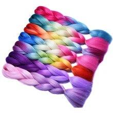 Sallyhair Синий Фиолетовый Розовый Белый Цвет Высокая Температура Синтетический Ломбер Джамбо Плетенки Плетение Волос Расширение Черный Белые Женщины(China (Mainland))