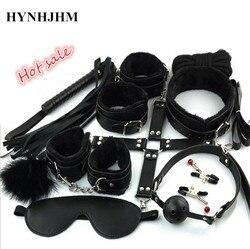 Neue Sexy Dessous Bondage Set 10 Teile/satz Sexy Produkt Spielzeug Handschellen Footcuff Peitsche Seil Augenbinde Paare Erotische Spitze kostüme