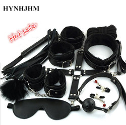 New Sexy Lingerie Bondage Set 10 Pcs/set Sexy Product Toys Hand Cuffs Footcuff Whip Rope Blindfold Couples Erotic Lace costumes