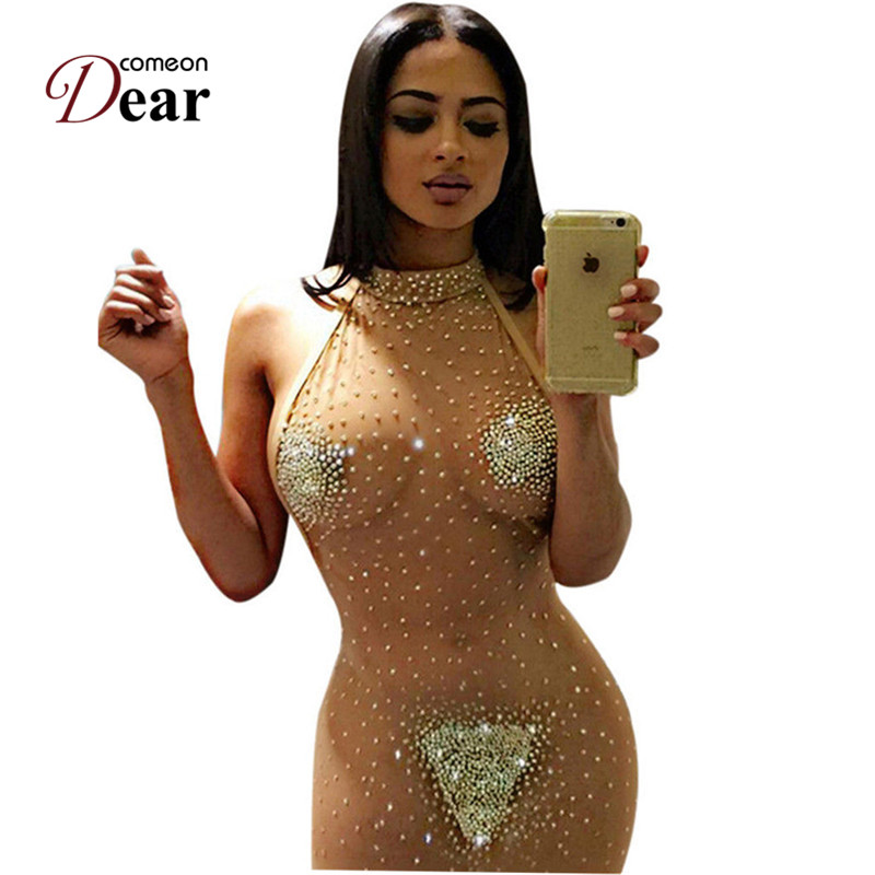 Comeondear Transparent Lace Sexy Dress Club Wear See Through Plus Size Sexy Bodycon Dress Night Women Mesh Dress Rj80244 -In Dresses From Womens -9462