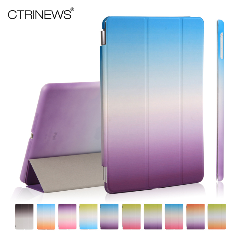 CTRINEWS Luxury Smart Flip Case For Apple iPad Air 1 Stand PU Leather Case Transparent PC Back Cover For iPad Air Tablets Cases ctrinews flip case for ipad air 2 smart stand pu leather case for ipad air 2 tablet protective case wake up sleep cover coque