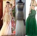 Luxo longo vestidos sereia vestidos de noite 2017 novos vestidos de baile de cristal verde esmeralda longo formal party dress vestido de renda
