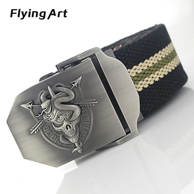 Flying Art Cinturón de lona con personalidad de serpiente esqueleto - Accesorios para la ropa
