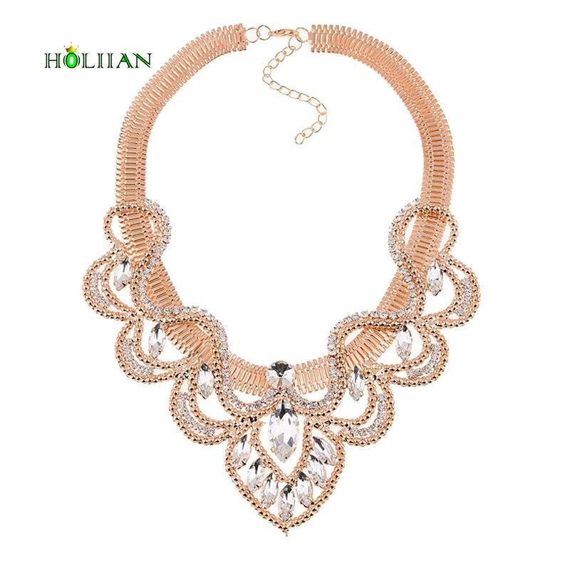 3a82180552d6 2016 feme moda de lujo waterdrop cristal rhinestones collar y colgantes oro  Champagne estilo declaración collar Accesorios