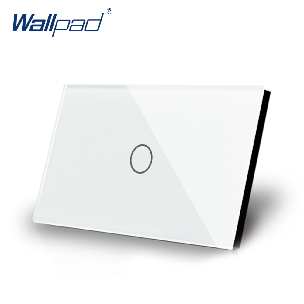 1 Gang 1 Way US/AU Standard Wallpad Touch switch Touch On/Off Switch Screen Light Switch White Crystal Glass Panel Free Shipping free shipping us au standard touch switch 2 gang 1 way control crystal glass panel wall light switch kt002us