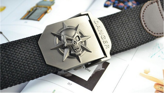 Fashion men's Canvas belt skull Metal tactics woven belt canvas belt Casual pants Cool wild gift for men belts Skull large size 6