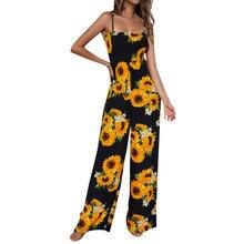 2019 MAXIORILL New Women Sunflower Dot Print Jumpsuit Sleeveless Clubwear Wide L
