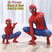 Spiderman Costume Kids 3D Girl Child The Amazing Spider Man Mask Suit Boys Spandex Black Red Halloween Adult Men Cosplay