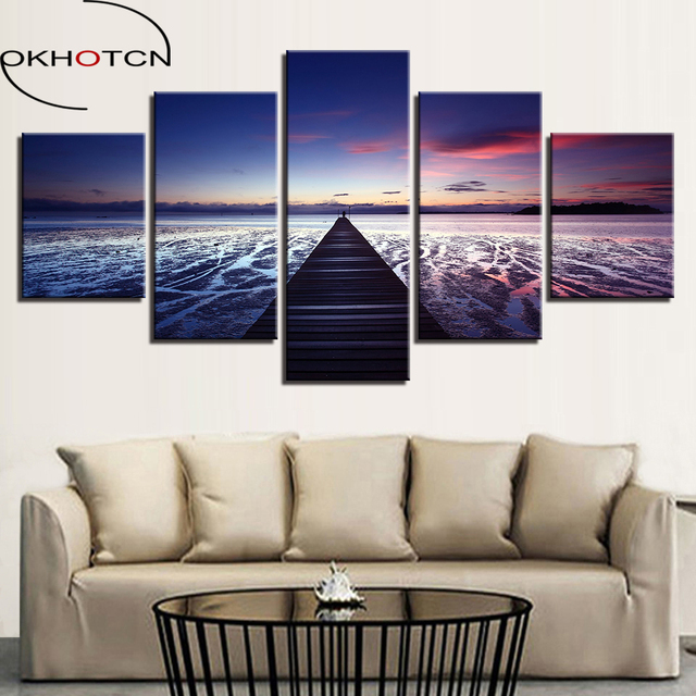 Okhotcn frame canvas paintings wall art prints 5 pieces endless bridge road poster sunset beach seascape